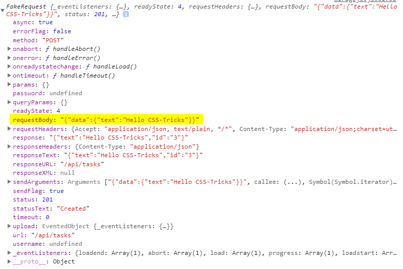 Screenshot of the mocking server request. The requestBody property is highlighted in yellow and contains text data that says Hello CSS-Tricks.