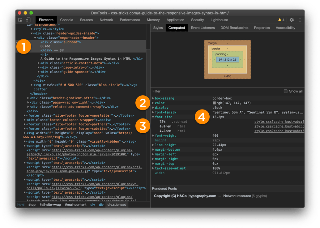 Screenshot of Chrome DevTools in dark mode. DOM elements are on the left and the Computed Properties information is on the right.