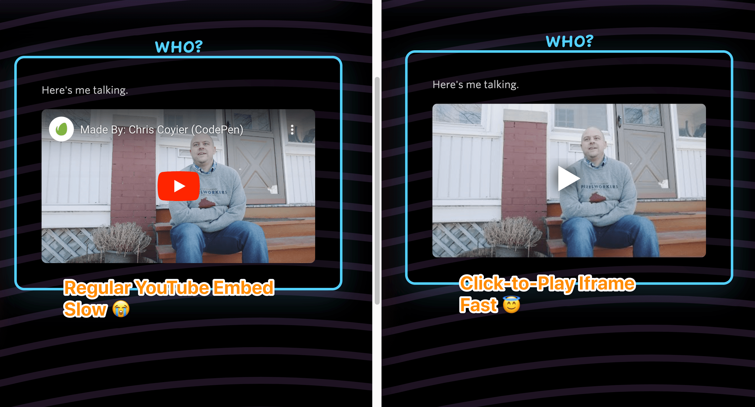 Comparison of a YouTube embed and an iframe with just an image in side. Barely different at all, visually.