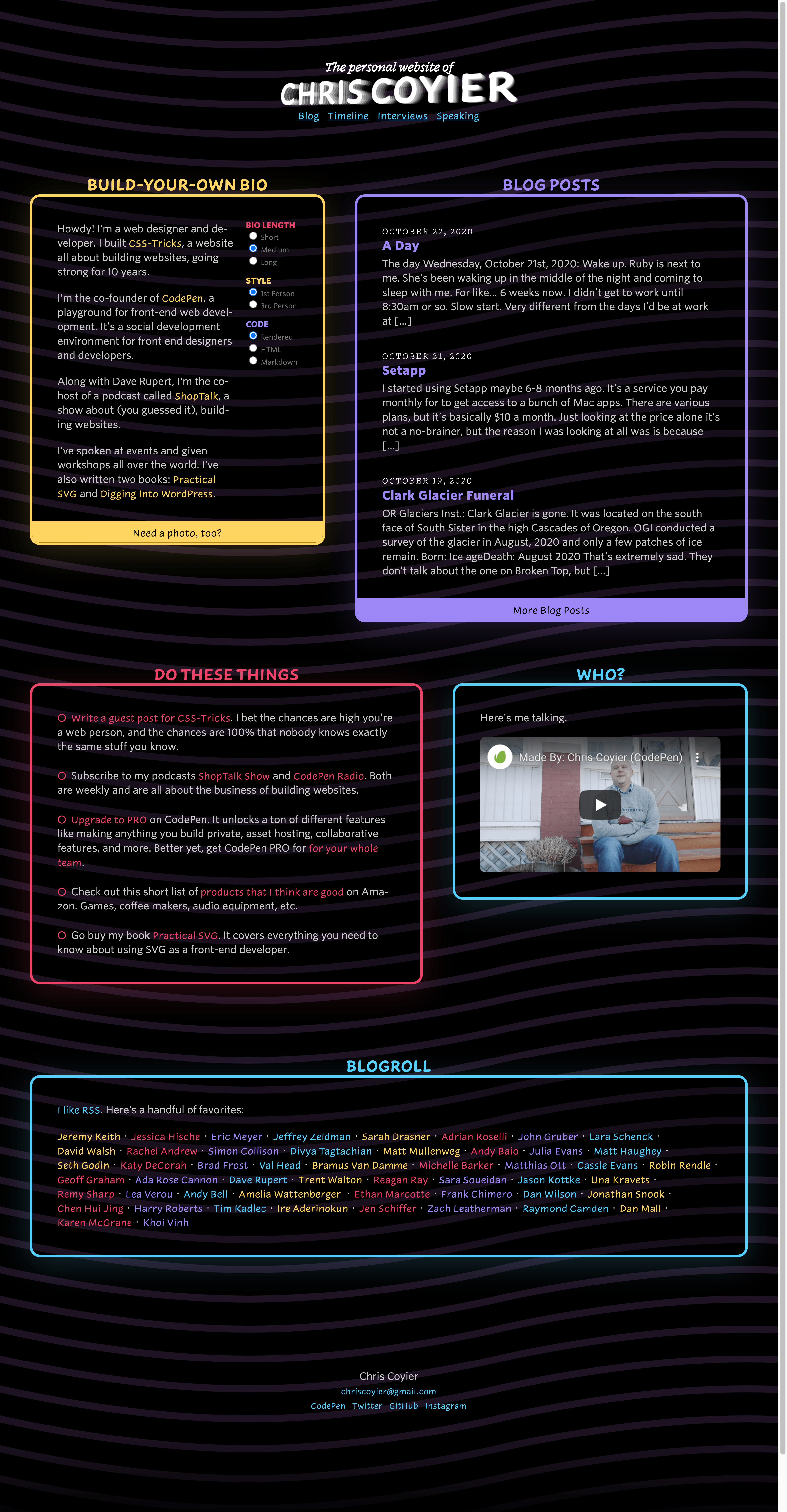 Screenshot of the entire length of the homepage of ChrisCoyier.net. Four major boxes of content: build-your-own bio in yellow, blog posts in purple, action items in red, and a video in blue.