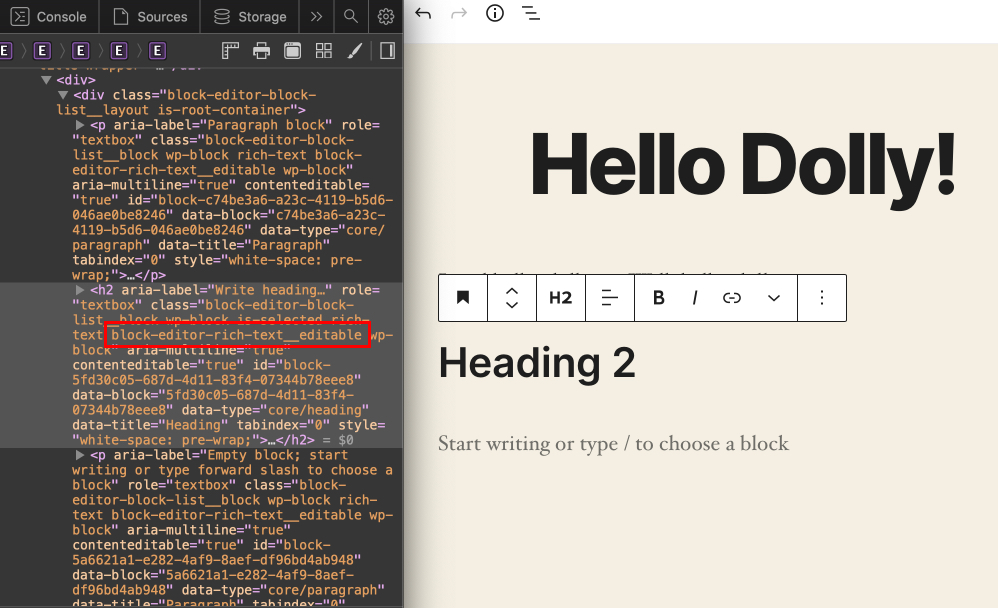 Showing the block editor with a light yellow background, a heading that reads Holly Dolly, and a heading 2 with DevTools open to the left in dark mode and a block-editor-rich-text-__editor class highlighted in red.