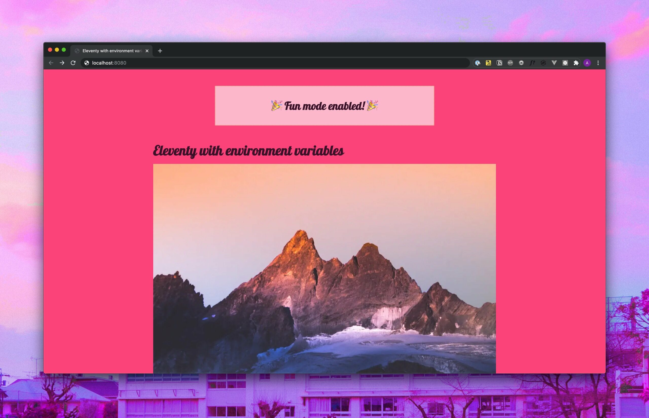 The main site we're working on but now, it's bright pink with Lobster and Comic Sans fonts