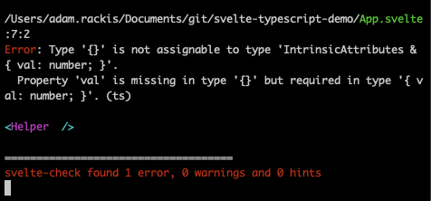 Showing terminal with a caught error.