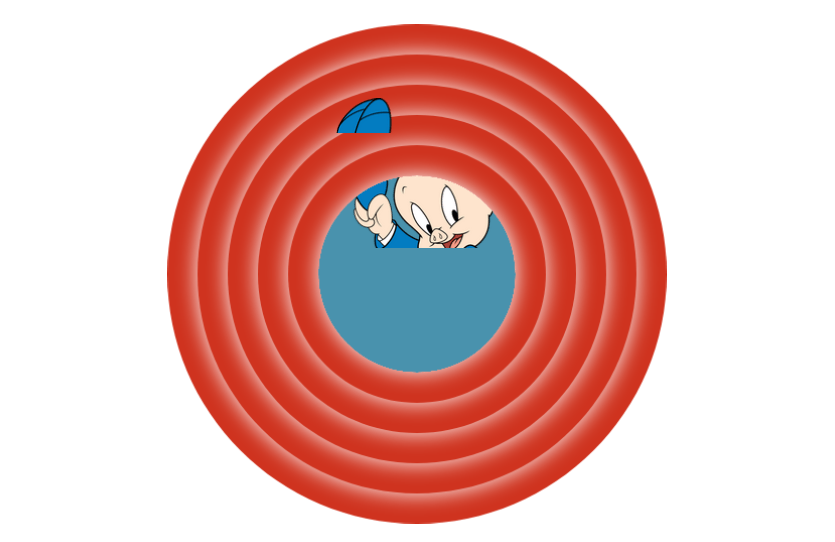 Porky Pig partially clipped by the background and the circles