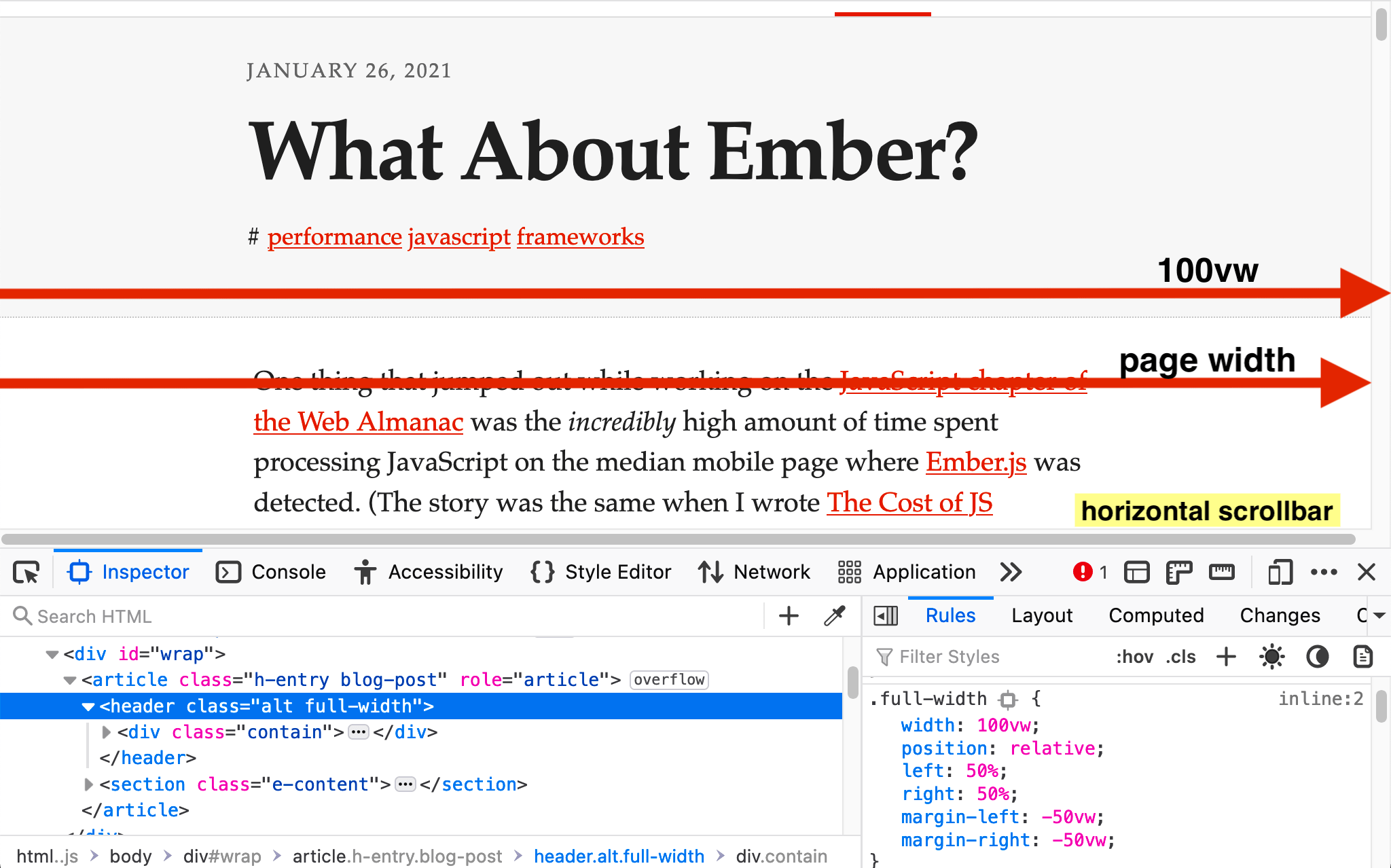 Screenshot of an article on a white background with a large black post title, post date and red tag links above a paragraph of black text. A scrollbar is displayed on the right with two large red arrows illustrating the page width, which is larger than the 100 viewport width unit.