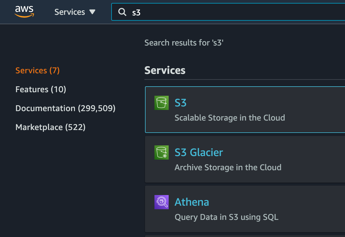 Showing a full-width search box with a dark blue background and the AWS logo pinned to the top of the screen, followed by search results for the term s3 and a list of filters to the left of it against a darker blue background.