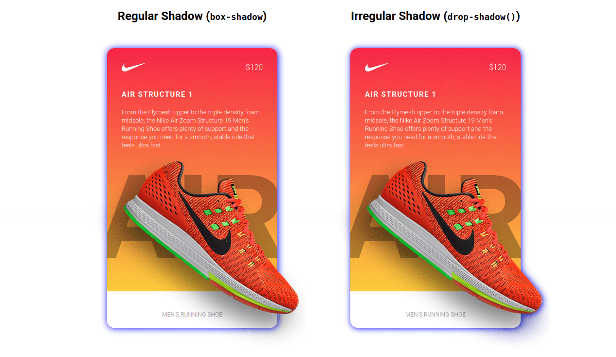 Showing two of the same card component side-by-side. They are brightly colored with a background gradient that goes from red to gold. The Nike logo is at the top, a title is below it, then a paragraph of white text beneath that. A red show with an exaggerated shadow is on both cards. The cards illustrated the difference between box shadow, which follows the boundaries of the card's edges, and drop shadow, which includes the shape of the shoe outside the card boundary.