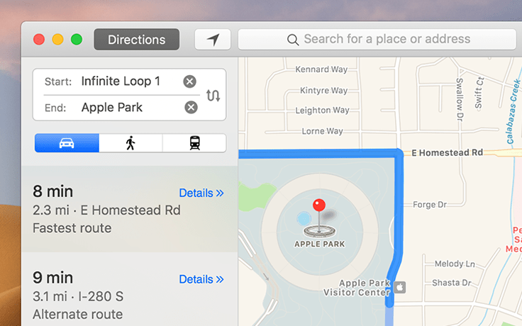 Screenshot of Apple's Maps app. The left column contains the map addresses and different route options with an opaque background that lightly blends in with the desktop background. The right column contains the map and does not blend in with the background.