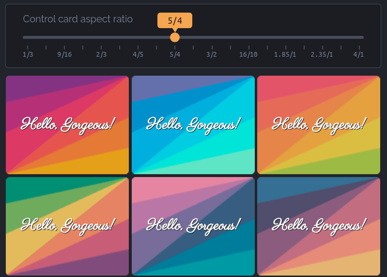 A 3 by 3 grid of square cards with color backgrounds made from conic gradients. The gradients appear like stripes that extend from opposite corners of the card. Each card reads Hello Gorgeous in a fancy script font.