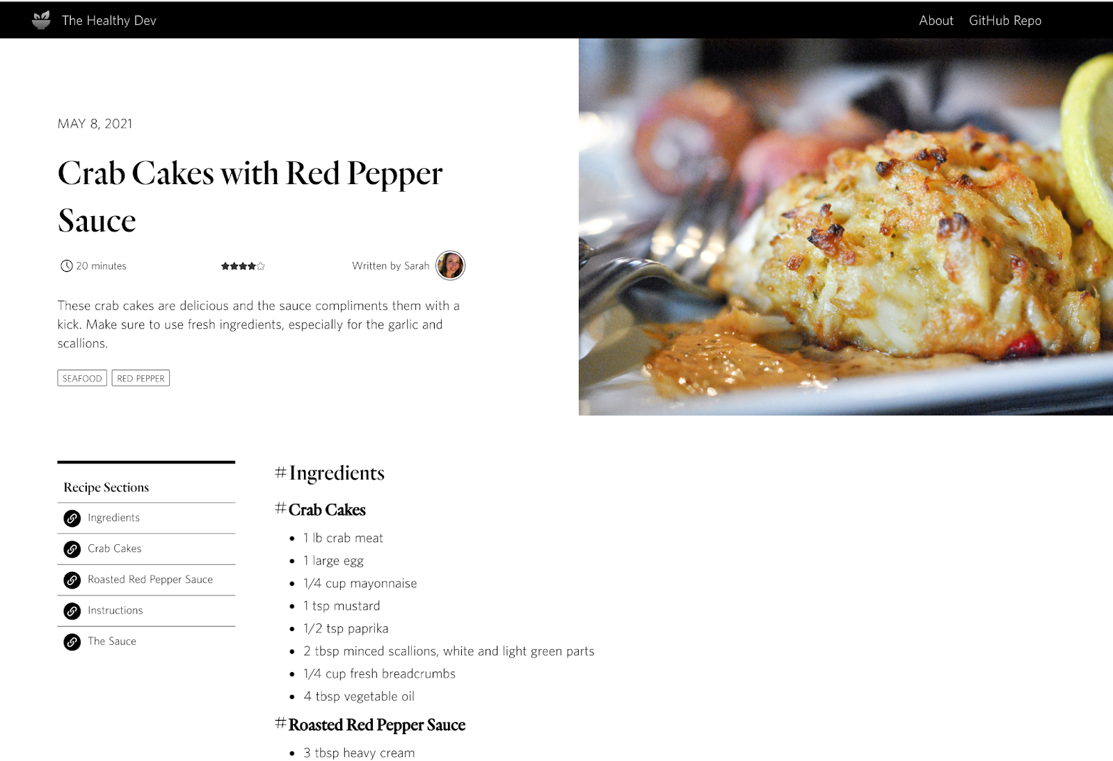 A recipe page for crab cakes with red pepper. The recipe directions and ingredients are noted on the left and a featured image of the finished dish on the right.