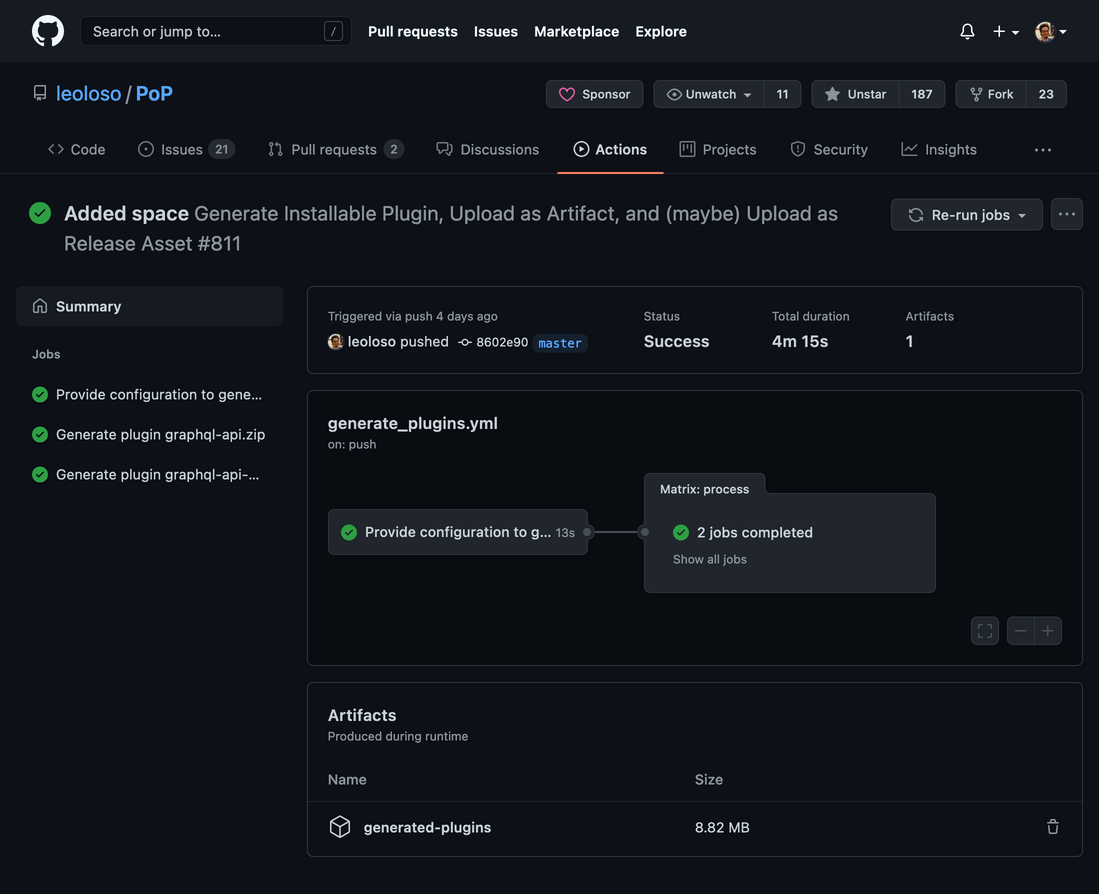 Dark mode screen in GitHub showing the actions for the project.